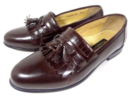Mens pelle Mocassini Taglia Tassel Borgogna Stacy 5 Scarpe Adams 7 M in Dress 4CxBAn