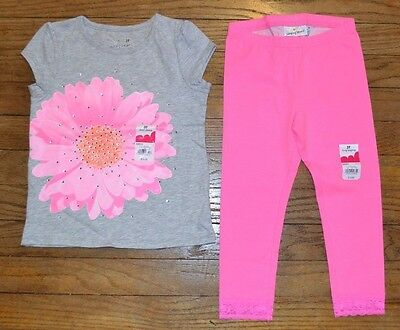 JUMPING BEANS Leggings 4T Solid Lace Trim Pink Toddler New