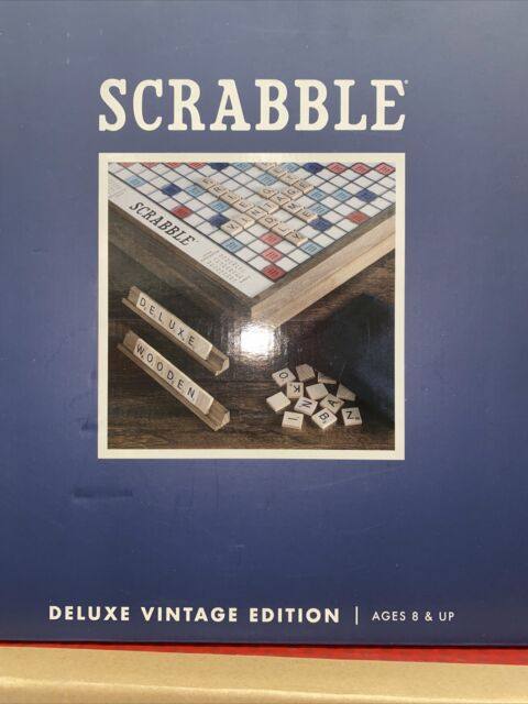 Scrabble Deluxe Vintage Wood Game Set with Lazy Susa Sealed collectable free shi