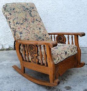 Antique American Tiger Oak Morris Arm Chair Recliner