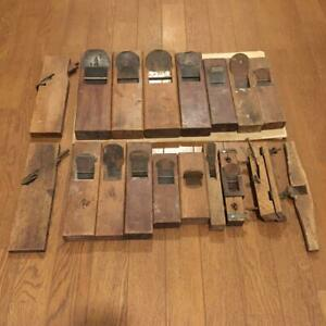 Japanese-Vintage-Woodworking-Carpentry-Tools-Plane-Kanna-18-Pcs-Set-Very-Rare-Q2