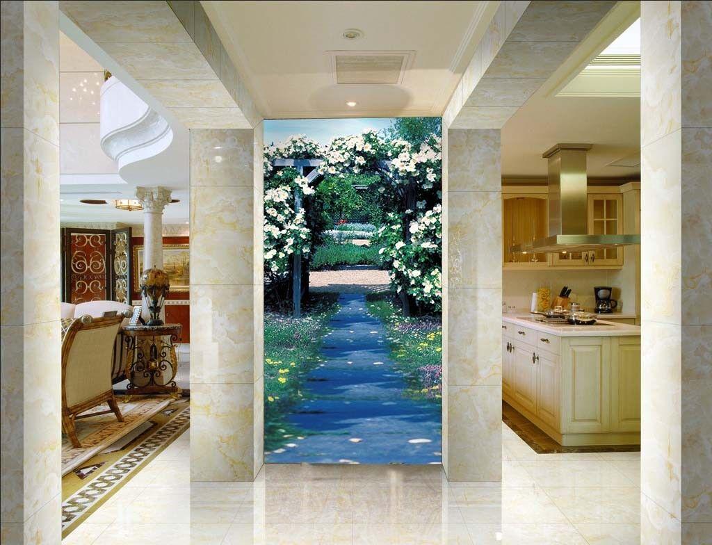 3D Flower Road Door 45 Wall Paper Wall Print Decal Wall Deco Indoor Mural Summer
