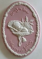 Pink Ceramic Kewpie wall plaque  Being In Love is the Coziest Feeling 1973