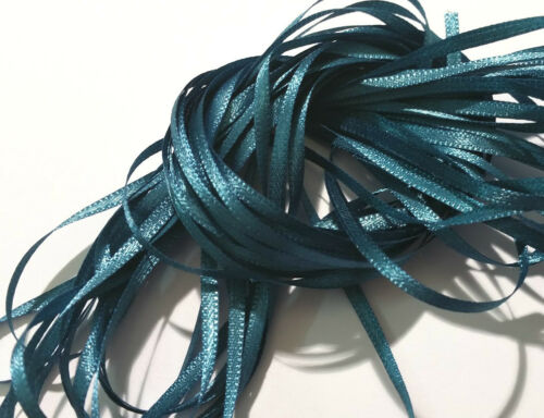 """Teal Craft Sew Knit Braid Woven Narrow Double-sided Ribbon 10 metres 3mm 1//8/"""""""