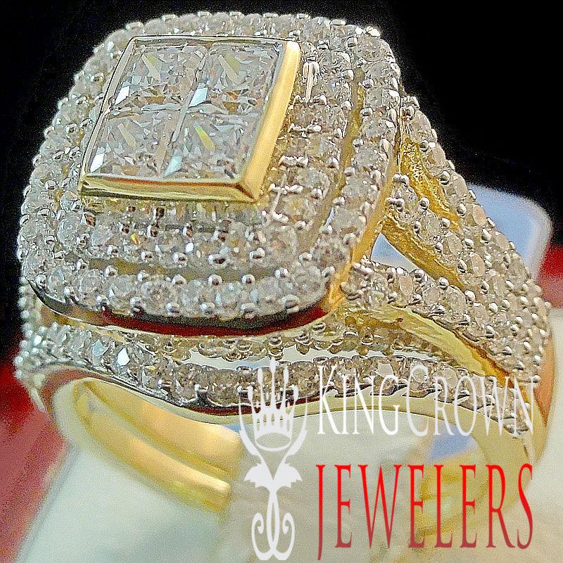 Da Donna Vero Vero Vero argentoo Sterling 2 Piece Fidanzamento Sposa Matrimonio Serie oro 393f41