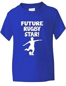 Avenir-Rugby-etoile-Sport-Drole-Enfants-Garcons-Filles-T-Shirt