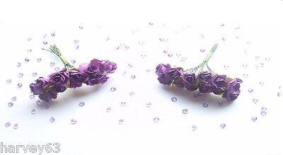 24x MINI PAPER ROSES  Ideal Wedding~Cakes~Celebration~Craft~Decoration~Cards
