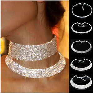 Women-Crystal-Diamante-Rhinestone-Necklace-Silver-Wedding-Party-Choker-Chain