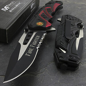 """7.5"""" MTECH USA FIRE FIGHTER RESCUE SPRING ASSISTED TACTICAL FOLDING POCKET KNIFE"""