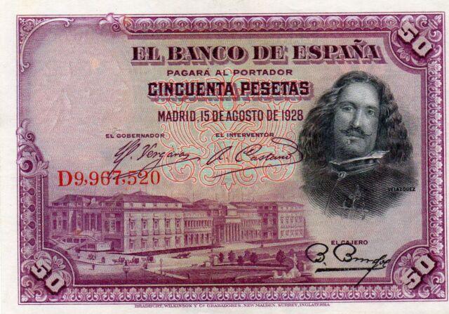 ESPAGNE 50 PESETAS 15/08/1928 P75C TYPE DIEGO VELASQUEZ D9,967,520 SP