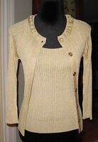 St. John Gold Metallic Cardigan Sweater +tank Top Twin Set Sz P $740.00