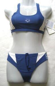 arena Damen Mädchen Bikini Gr 36 Blau Weiß chlorbeständig 26120