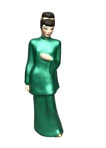 Rare Green Lusterware Ceramic Asian Lady Figurine