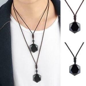 Gluecklicher-Obsidian-Anhaenger-Hexagramm-Halskette-Schwarz-Amulett-Schmuck-S-Q7F8