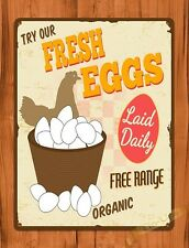 TIN Sign Free Range Fresh Eggs For Sale Organic Laid Daily Chicken Farm Coop
