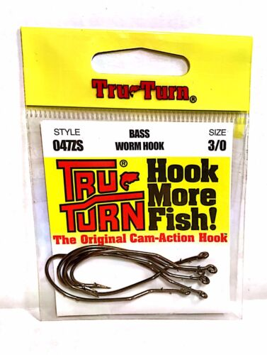 Tru-Turn Bass Worm Fishing Hooks Size 3//0