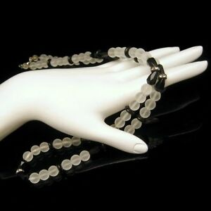 Vintage-Frosted-White-Black-Glass-Beads-Rhinestone-Rondelles-Necklace-25-in-Long