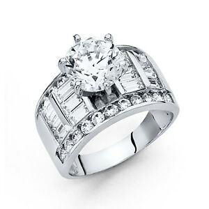 14k-White-Gold-3-50-Ct-Diamond-Engagement-Ring-Wedding-Ring-Solitaire-Baguette