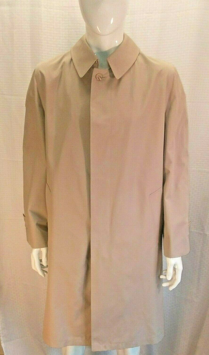Men's 3 in1 London Fog Misty Harbor Rain Trench Coat 40 Long Beige Gabardine XC