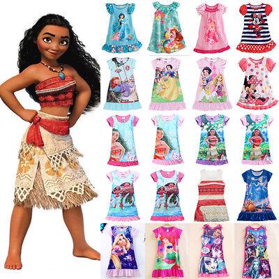 Toddler Kids Girls Cartoon Moana Elsa Sleepwear Princess Dress Pyjamas Nightwear
