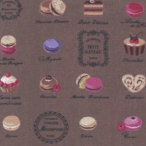 COTTON FABRIC MACARON cake ALL OVER FRENCH PATISSERIE MACAROON LINEN LOOK