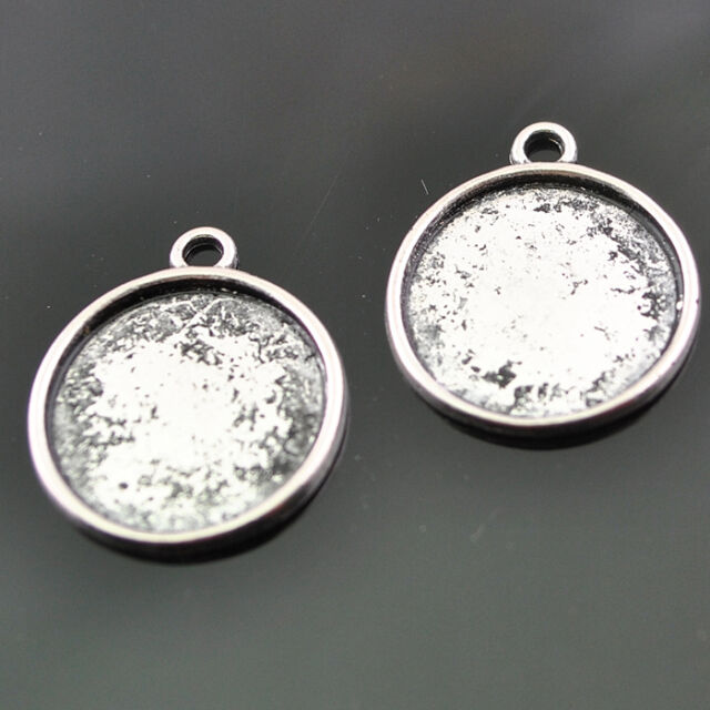 Lots 20/50/100pcs Anti-silver Alloy Cabochon Setting Pendants18mm Fit 16mm DZ181