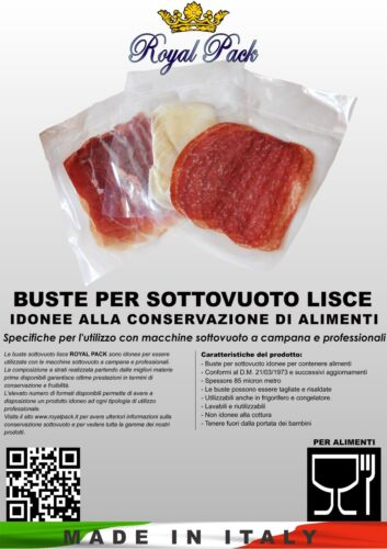 ROYAL PACK SACCHETTI BUSTE SOTTOVUOTO VACUUM LISCE 30x40 1000 pz SMOOTH ALIMENTI