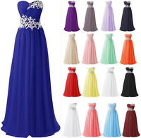 Long Sweetheart Applique Prom Bridesmaid Dress Corset Chiffon Gowns Size 6-20