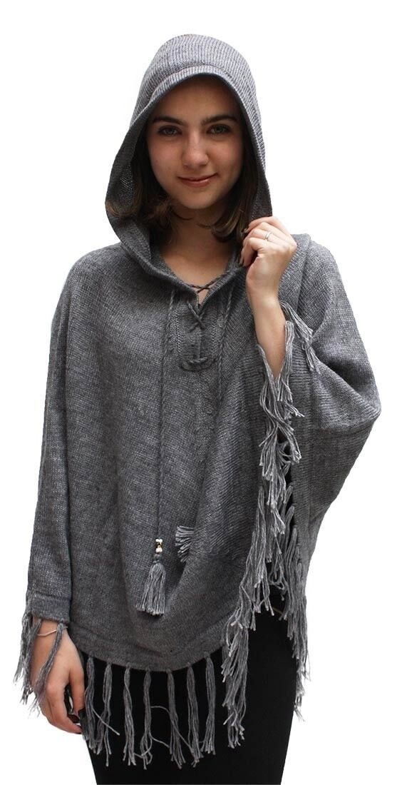 Women's Superfine Alpaca Wool Hooded Poncho One Size Solid color