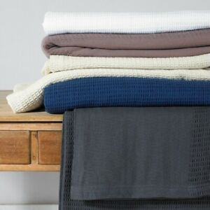 Throw-Blanket-From-Great-Knot-Banbury-100-Cotton-Waffle-Grey-Navy-White-ivory