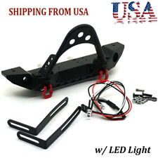 Alloy Front Bumper With LED Lights for 1/10 RC Axial Scx10 D90 Crawler Car US