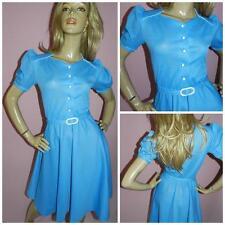 70s does the 40s BLUE/WHITE MINI POLKA DOT SWING TEA DRESS 8 1940s KITSCH