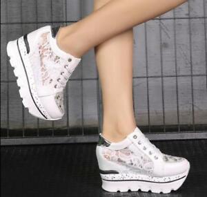 Women-Lace-Creepers-High-Platform-Fashion-Sneaker-Hidden-Heel-Shoes-Wedge-Pumps
