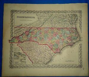 Vintage-1857-MAP-NORTH-CAROLINA-Old-Antique-Original-Colton-039-s-Atlas-Map