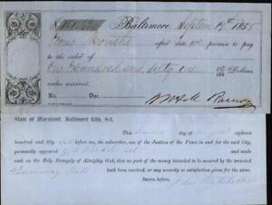 1855 Baltimore Maryland (MD) Receipt Baltimore John Whiteheld
