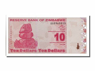 Aa0965519 Spare No Cost At Any Cost #201587 65-70 Zimbabwe Beautiful Unc 10 Dollars Km #94 2009