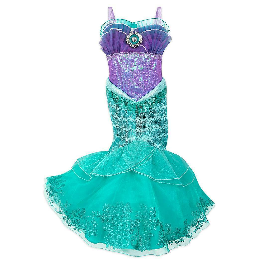 Disney Girls Ariel The Little Mermaid Tee T-Shirt Organic Cotton Teal Sequin NEW