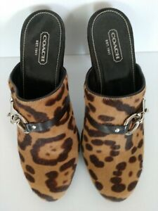 Coach Karsean Pony Hair  Leopard Print Mule Slide Heel 10 New