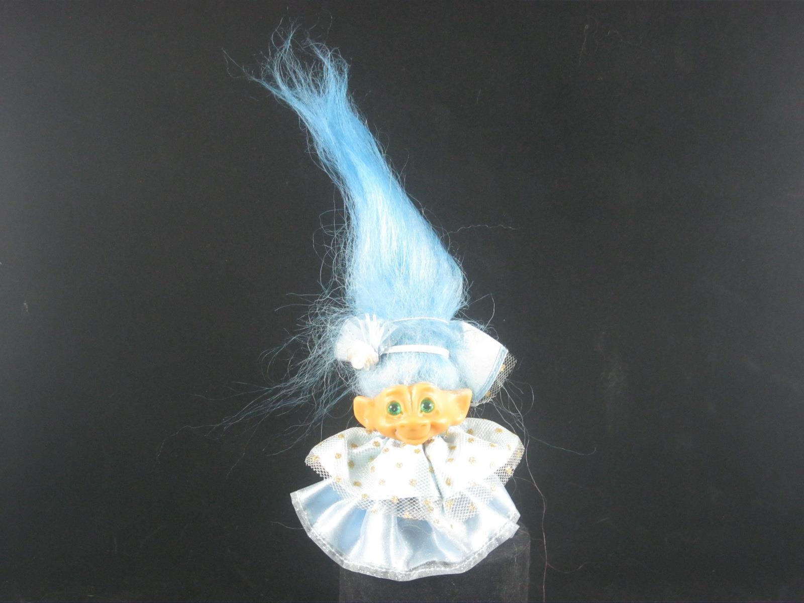 2 3 4  VTG SCANDIA TROLL NEW Blau HAIR, Grün SPIRAL EYES & LT Blau Kleid u560