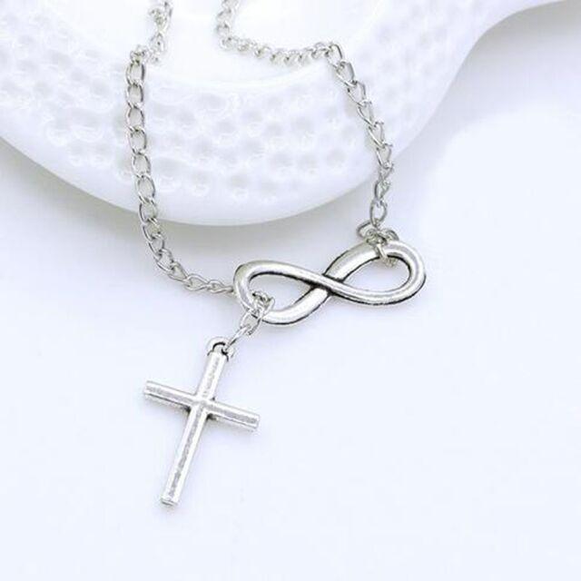 Fashion Jewelry Pendants Long Silver Cross Pendants Necklace Choker Infinity