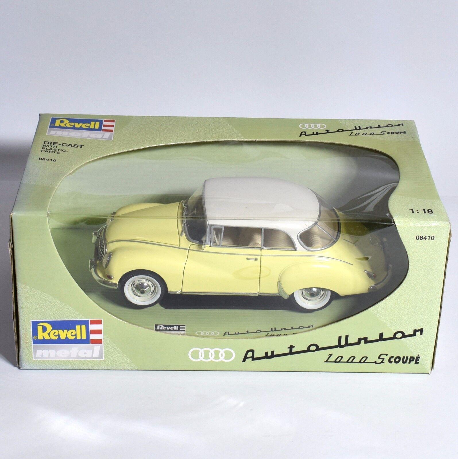 REVELL 08410 Auto Union 1000s SPORT COUPE in giallo verniciato bianco, OVP, 1 18, k015