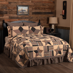 BINGHAM-STAR-QUILT-SET-choose-size-amp-accessories-Rustic-Plaid-Check-VHC-Brands