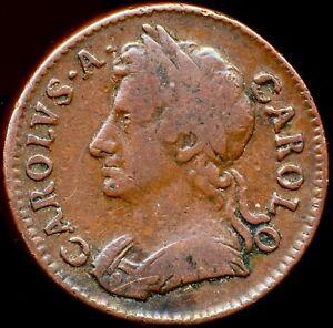 1674 FARTHING Charles II Scarce Peck 527 Good fine