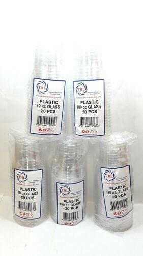 20PCSX5PACKS 100PCS DISPOSABLE PLASTIC CRYSTAL CUPS TUMBLER WINE SPIRITS JUICE