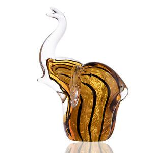 Handmade-Glass-Brown-striped-elephant-Art-Glass-Blown-animal-Figurine-Decor-Gift