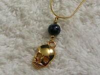 Goldtone Skull Glass Bead Pendant Necklace (A38)