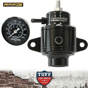 Aeroflow-Black-Compact-Billet-800hp-EFI-Fuel-Pressure-Regulator-30-90psi-Gauge