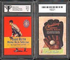 BABE RUTH Spalding Glove Advertising PROMO CARD w/ Facs Auto GRADED GEM 10  #B
