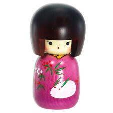 "Japanese Wooden Doll Kokeshi Girl Purple Kimono Snow Rabbit Design 5"""