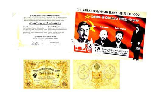 Russia The Great Bolshevik Bank Heist of 1907 Lenin /& Stalins Banknote /& Folder